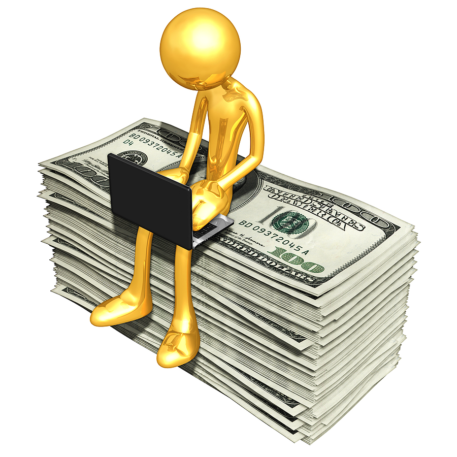 Bigstock Gold Guy Online With Money 6741622